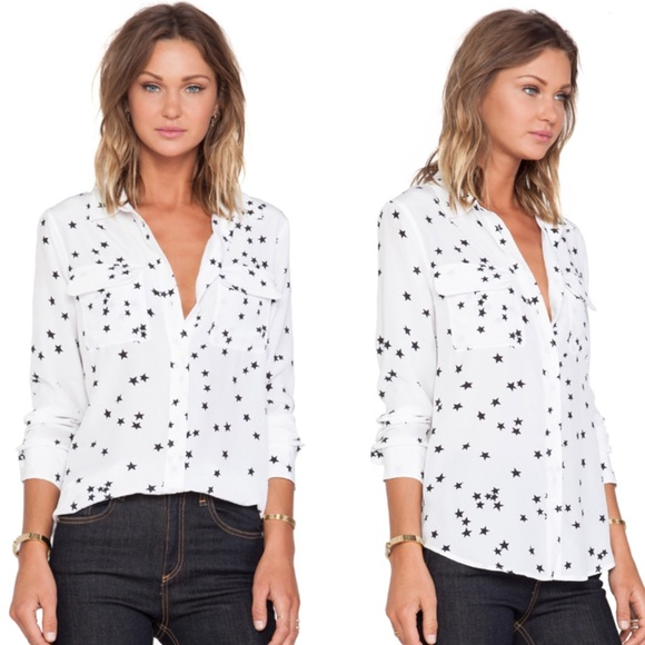 5175c682526f9 Equipment Tops - Equipment signature silk white star print shirt